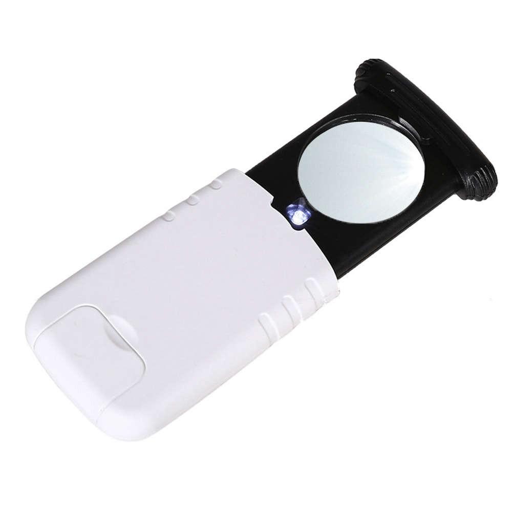 Lupa de Mão Aumento 8X Portátil com Luz LED Retrátil