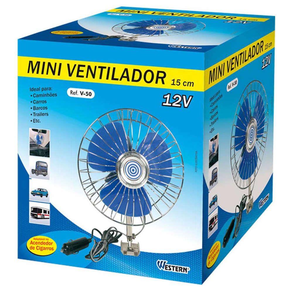 Mini Ventilador para Carro Ônibus Caminhão Trailer 15cm Western V-50