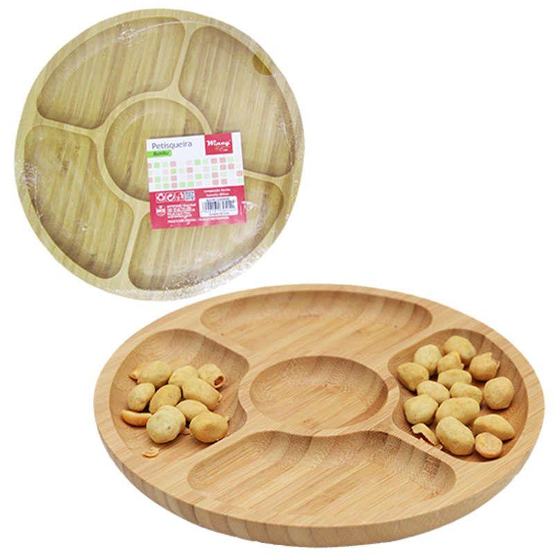 Petisqueira de Bambu Redonda 25cm 5 Divisórias Wincy CLA16030