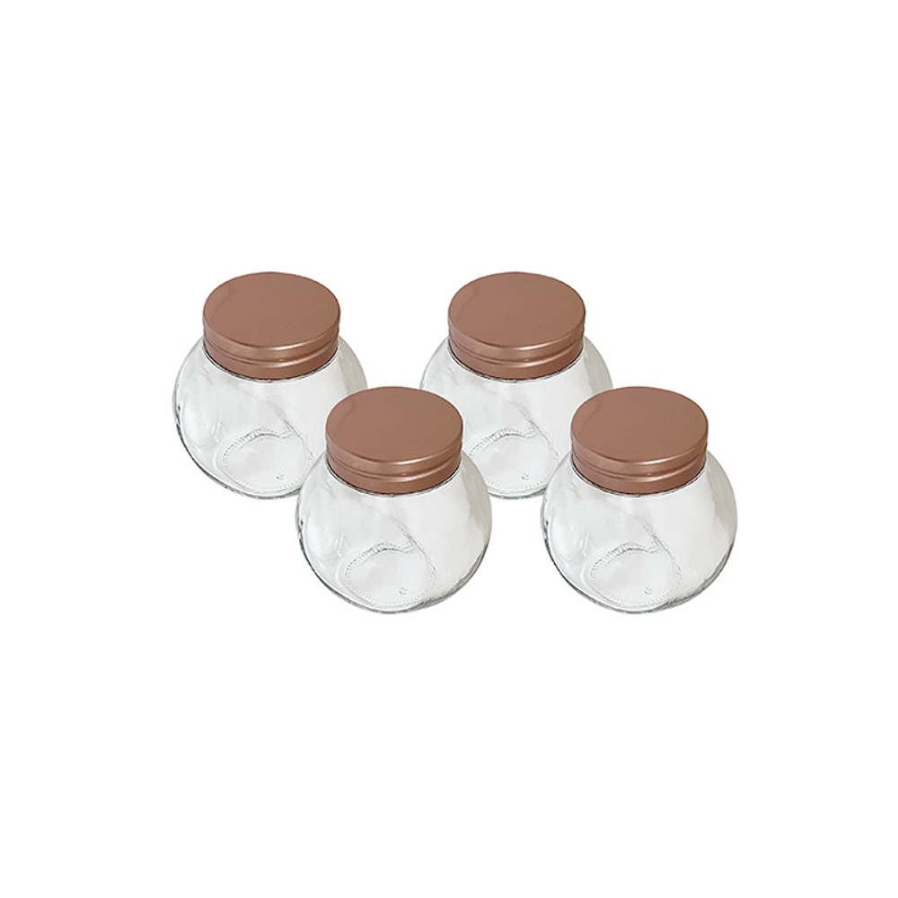 Porta Condimentos 4 Potes de Vidro Rose Gold com Tampa de Rosca Haüskraft POTE-034
