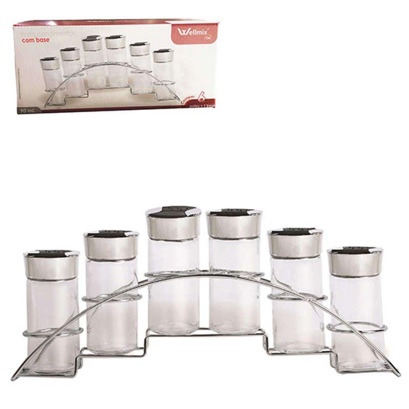 Porta Condimentos 6 Potes de Vidro Aramado Wellmix WX6826