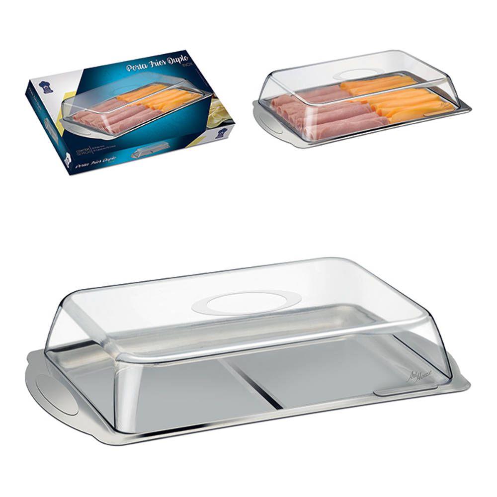 Porta Frios Duplo Inox com Tampa Transparente Art House ZF2460