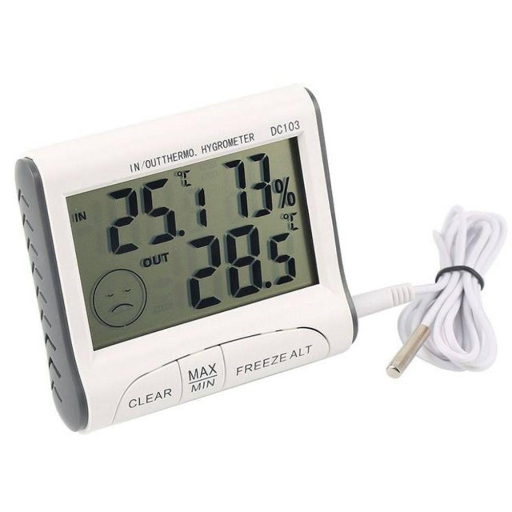 Termômetro Interno E Externo Com Higrômetro Interno Digital Com Máxima E Mínima Dc103