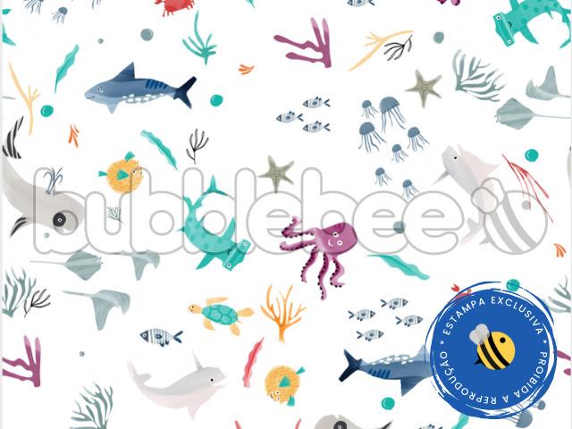 Edredom Berço - Estampado Fundo do Mar