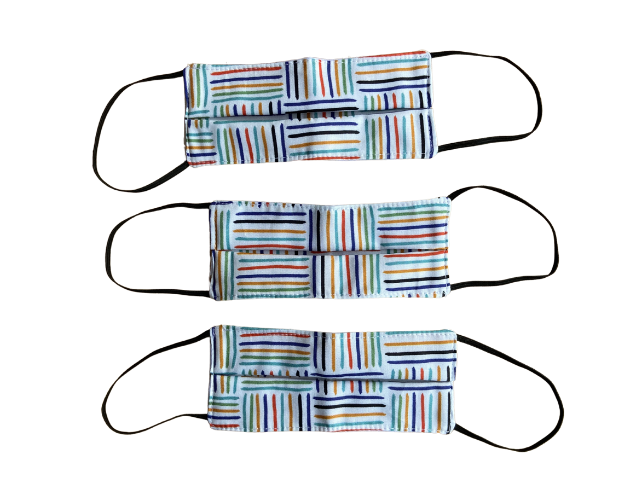 Máscara tecido 100% algodão Xadrez - KIT 3 unidades INFANTIL