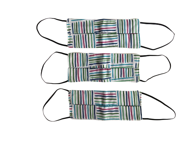 Máscara tecido 100% algodão XADREZ VERDE - KIT 3 unidades ADULTO