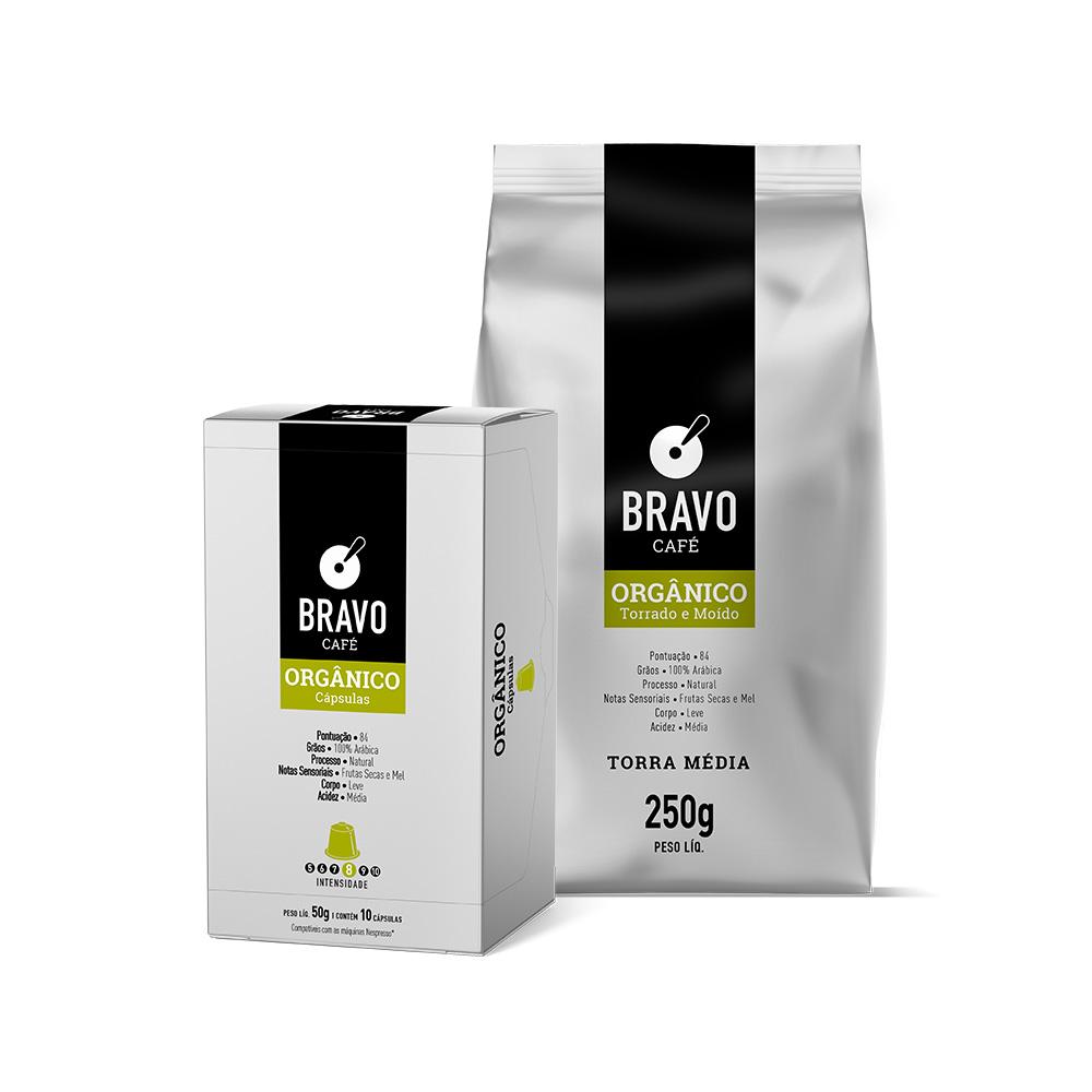 Kit 2 Cafés Bravo Goumert Orgânico - Moído 250g + Cápsulas 10 unidades 50g