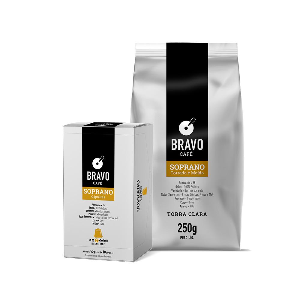 Kit 2 Cafés Bravo Goumert Soprano - Moíso 250g + Cápsulas 10 unidades 50g