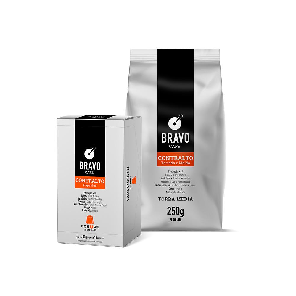 Kit 2 Cafés Bravo Gourmet Contralto - Moído 250g + Cápsulas 10 unidades 50g