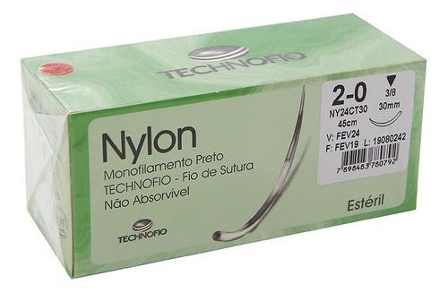 FIO NYLON MON. 2-0 C/AG. 3/8 TRI. 20MM C/ 24 PRETO TECHNOFIO