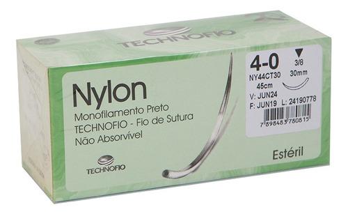 FIO NYLON MON. 4-0 C/AG. 3/8 TRI. 20MM C/24 TECHNOFIO