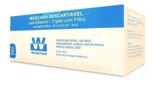 MÁSCARA DESC. TRIPLA C/ ELASTICO CX/ 50 WILTEX PLUS