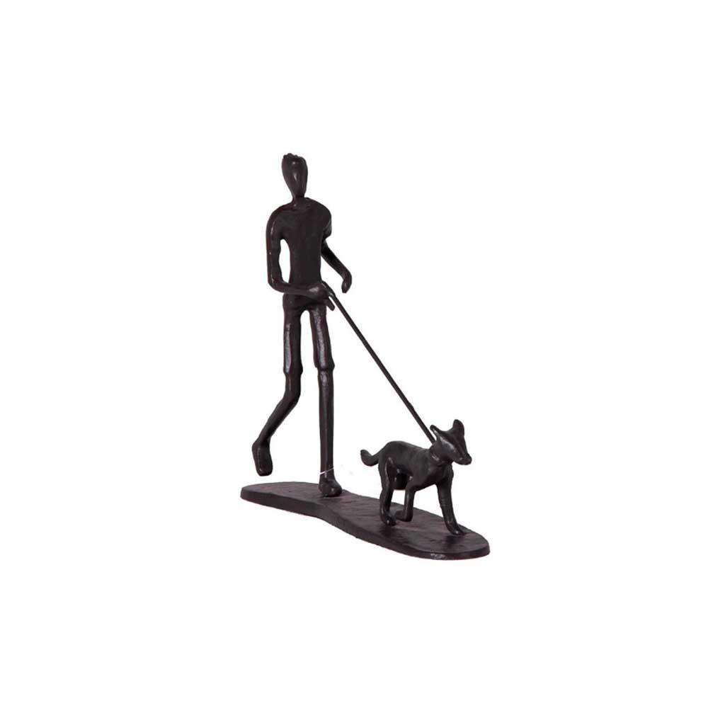 ESCULTURA DE MESA HOMEM DOG WALKER METAL