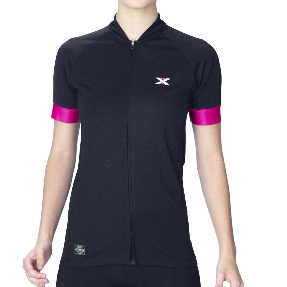Camisa Ciclismo DX3 Fusion 04 Preta/Rosa Feminina
