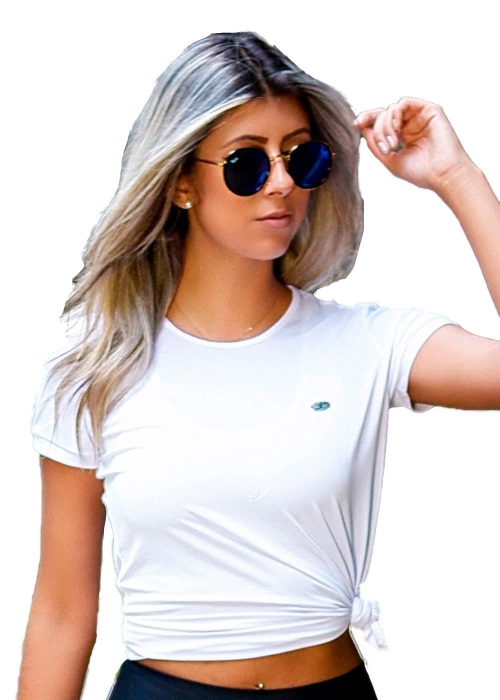 Camiseta Batinha c/ Detalhe Just Fit Branco Feminino