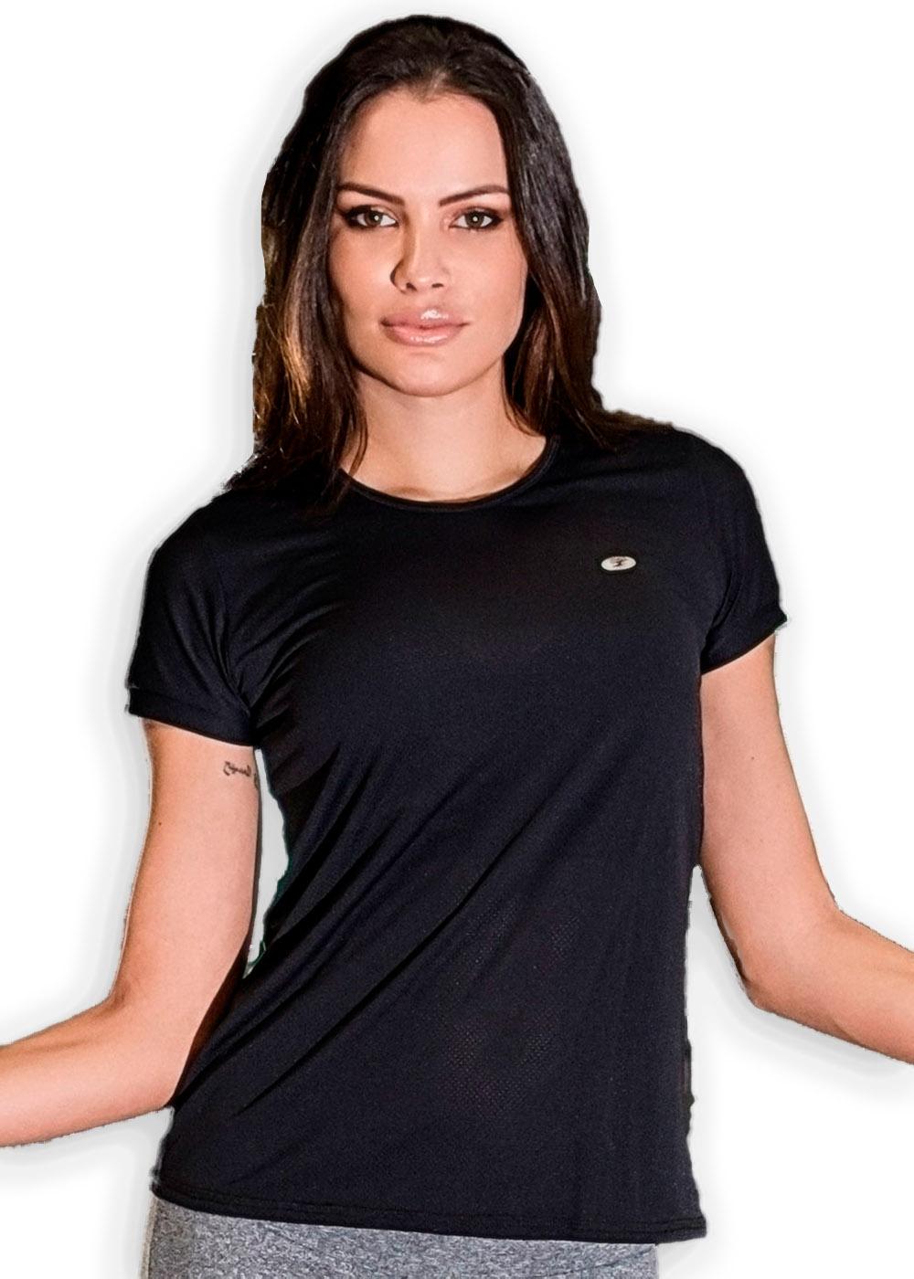 Camiseta Batinha c/ Detalhe Just Fit Preto Feminino