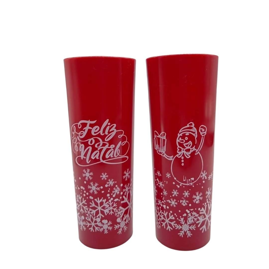 COPO LONG DRINK SLIM FELIZ NATAL VERMELHO FECHADO 320 ML