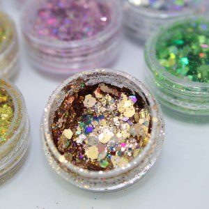 Kit 12 Glitter Colorido Hexagonal