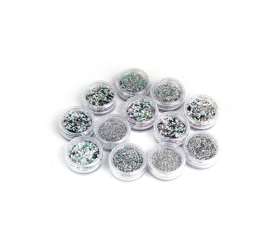 Kit 12 Glitter Prata