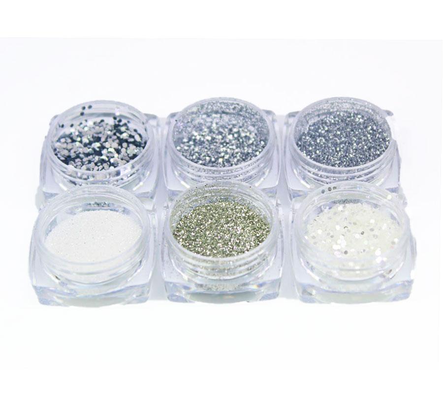 Kit Com 6 Glitter Prata