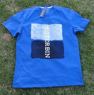 Camiseta Misterbin Duas cores azul malha premium 100% algodão