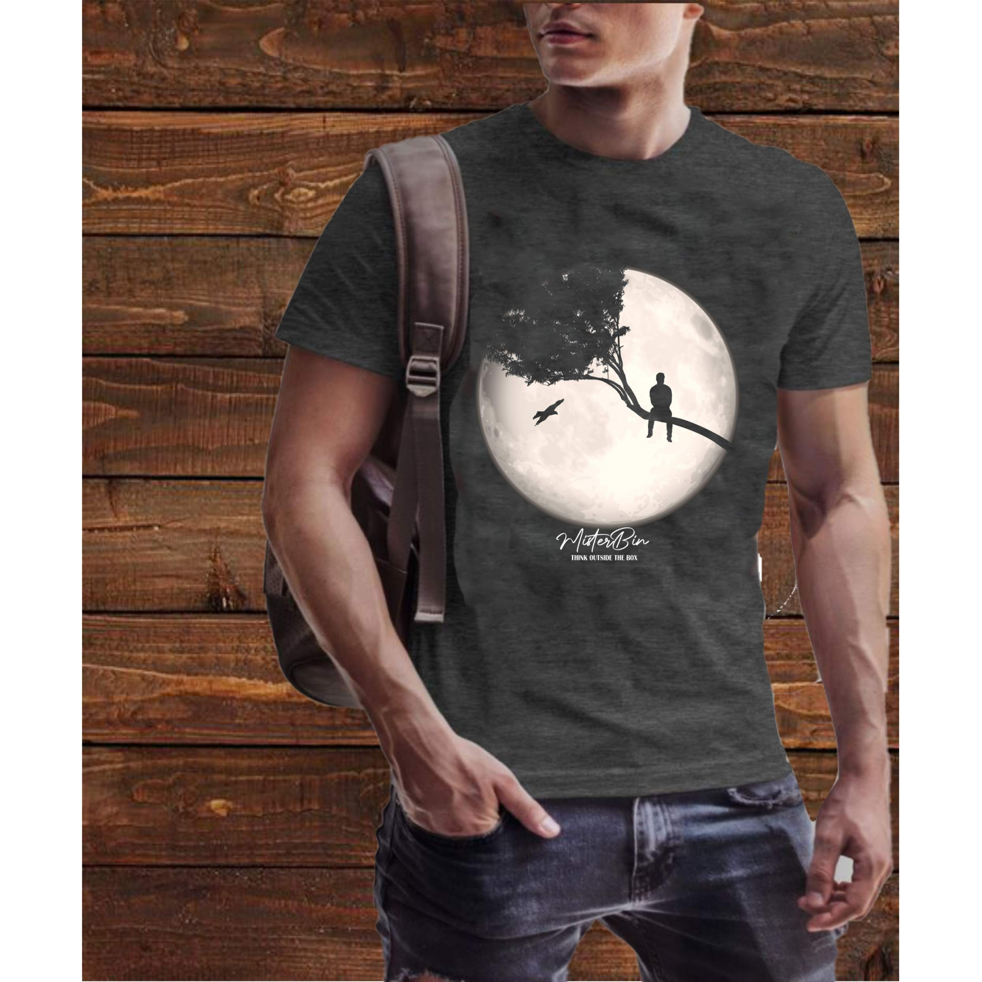 T-shirt Misterbin Think masculina chumbo malha premium 100% algodão