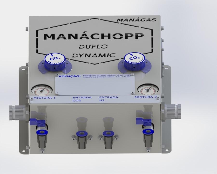 Mistura de CO2 e Nitrogênio para chopp - Misturador de Gases - MANÁCHOPP® DUPLO DINÂMICO - modelo com 2 saídas flexíveis de misturas de gases