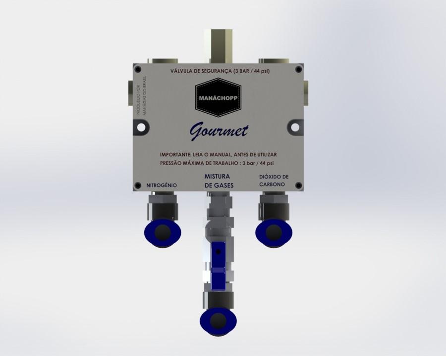 Mistura de CO2 e Nitrogênio para chopp - Misturador de Gases - MANÁCHOPP® GOURMET - modelo com 1 saída de mistura de gases - ideal para varanda gourmet
