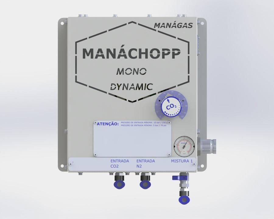 Mistura de CO2 e Nitrogênio para chopp - Misturador de Gases - MANÁCHOPP® MONO DINÂMICO - modelo com 1 saída flexível de mistura de gases