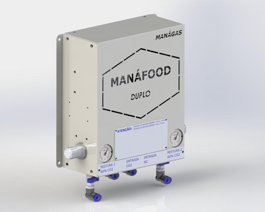 Atmosfera modificada em alimentos - Conservação de alimentos - Misturador de Gases - MANÁFOOD® DUPLO - modelo com 2 saídas de misturas de gases