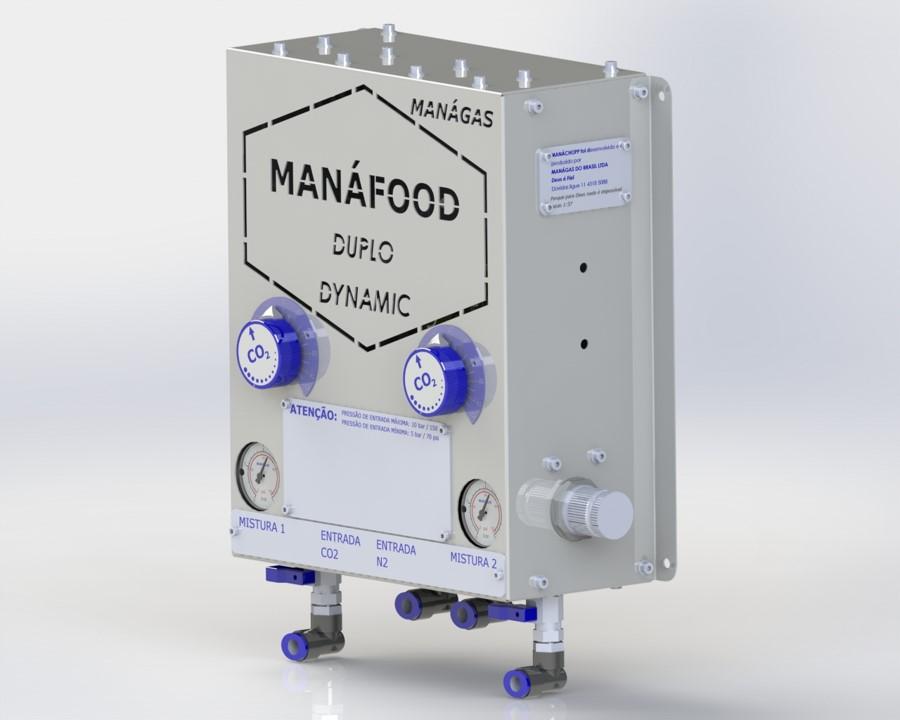 Atmosfera modificada em alimentos - Conservação de alimentos - Misturador de Gases - MANÁFOOD® DUPLO DINÂMICO - modelo com 2 saídas de misturas de gases flexíveis