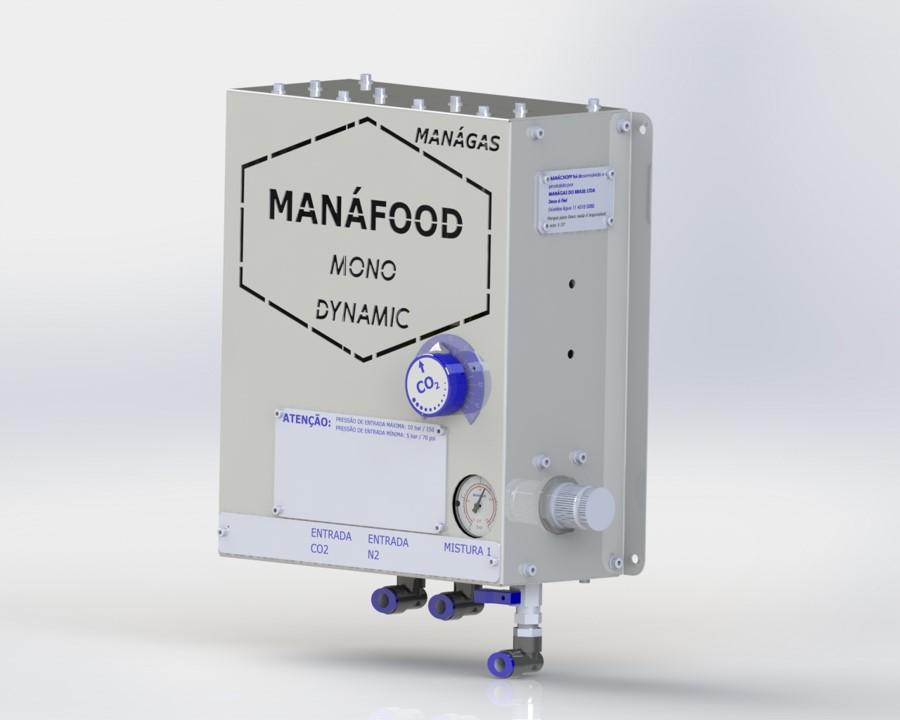 Atmosfera modificada em alimentos - Conservação de alimentos - Misturador de Gases - MANÁFOOD® MONO DINÂMICO - modelo com 1 saída flexível de mistura de gases