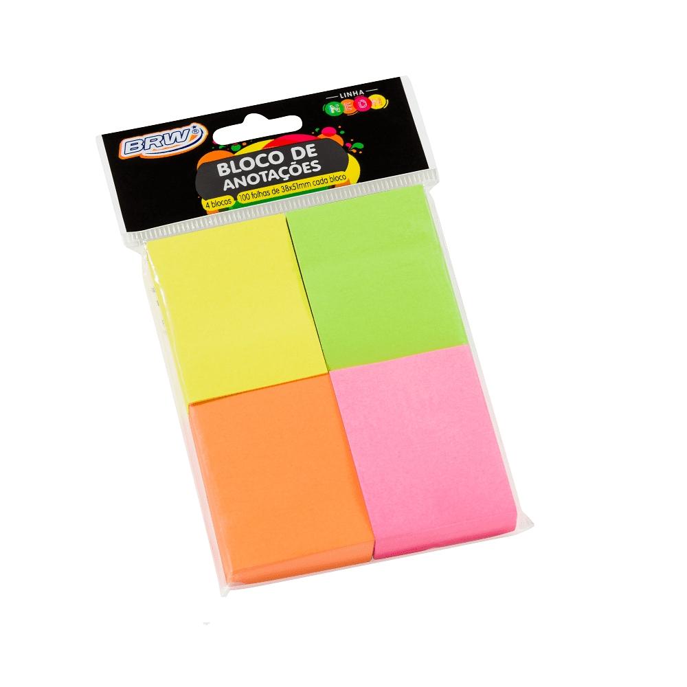 Bloco Adesivo 4 Cores Neon BRW