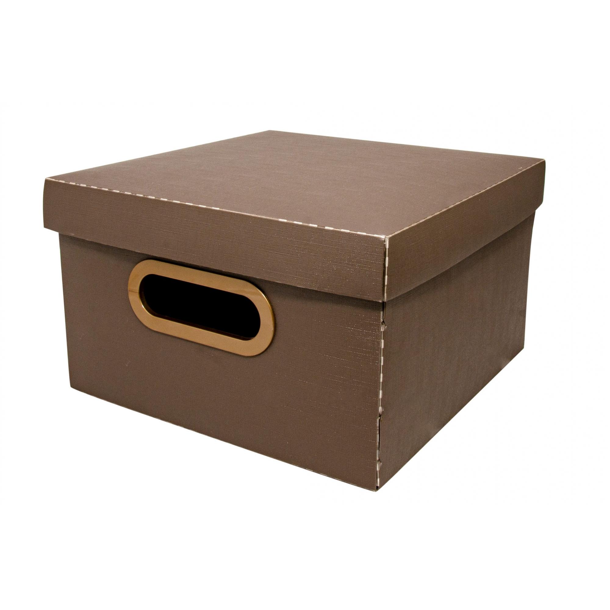 Caixa Organizadora Pequena Linho Marrom Dello