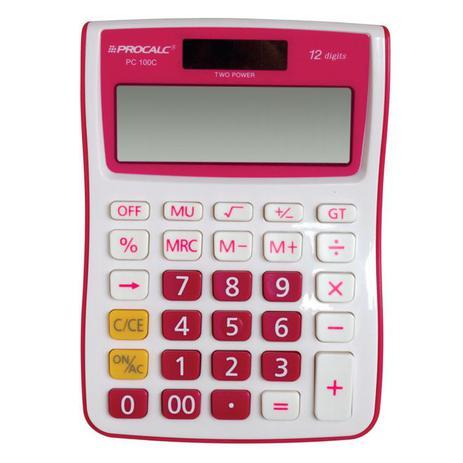 Calculadora de Mesa Pink e Branco Procalc Pc100p