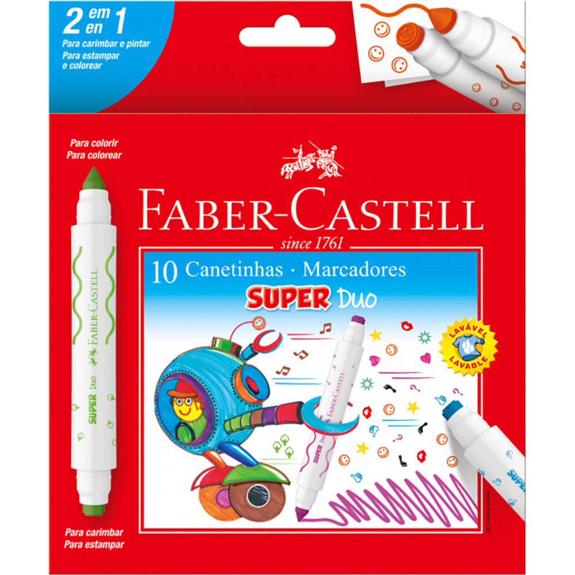 Canetinha Hidrográfica 10 Cores Super Duo Faber-Castell