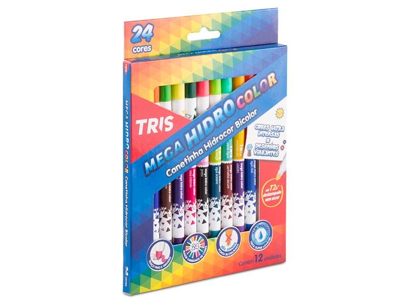 Canetinha Hidrográfica 24 Cores Bicolor Tris