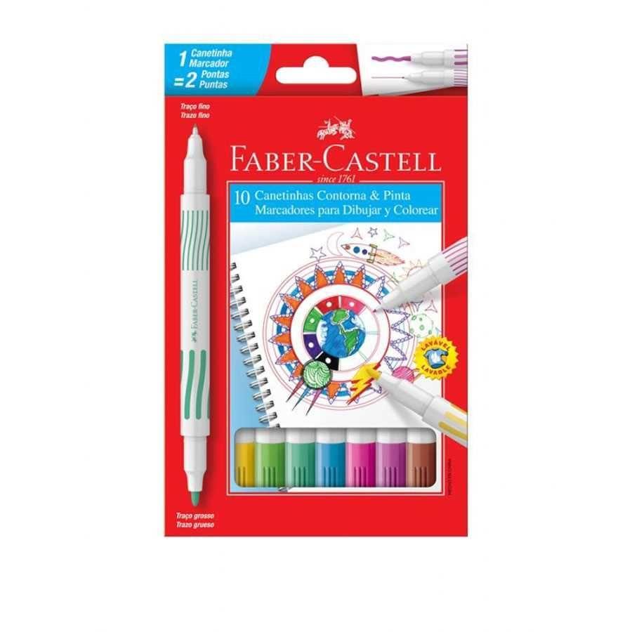 Canetinha Hidrográfica Contorna e Pinta 10 Cores Faber-Castell
