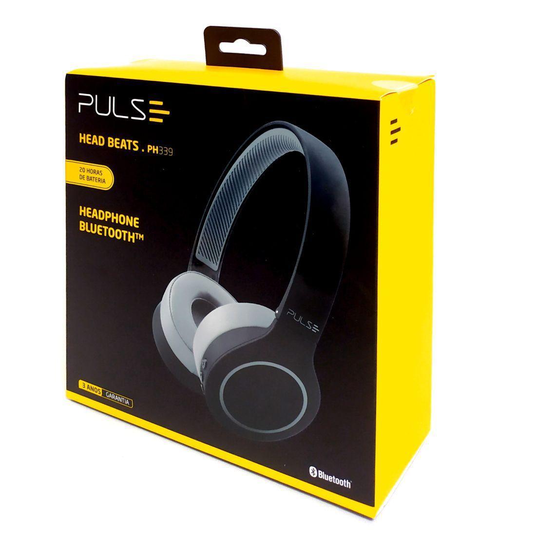 Fone de Ouvido Headphone Bluetooh 5.0 Pulse Head Beats Preto/Cinza Multilaser (ph339)