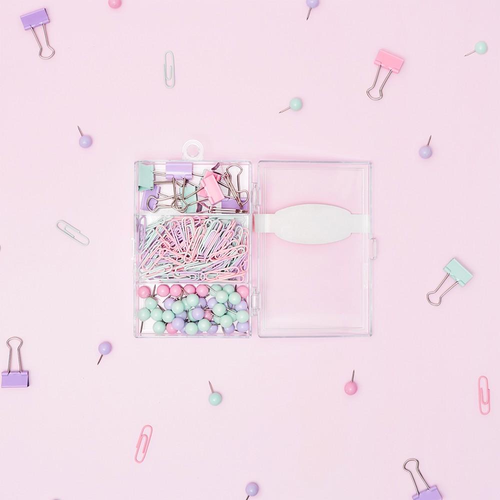 Kit de Alfinetes, Clips e Blinder Cores Pastel Leonora