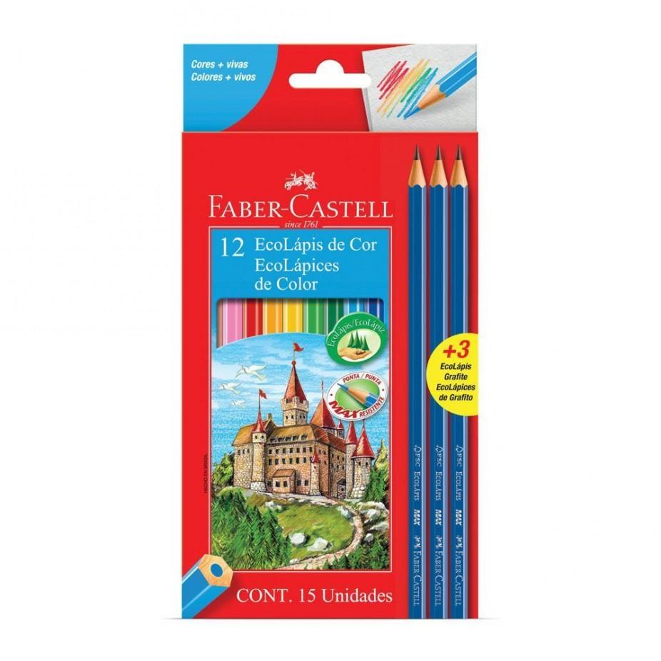Lápis de Cor 12 Cores Kit Escolar Faber-Castell