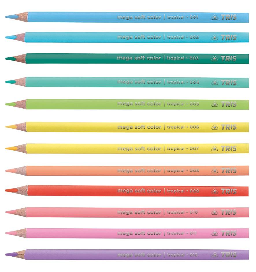 Lápis de Cor 12 Cores Mega Soft Tris