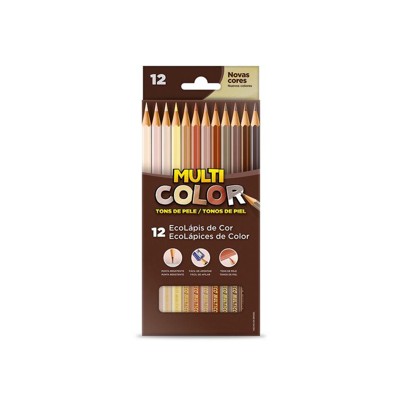 Lápis de Cor 12 Cores Tons de Pele Multicolor