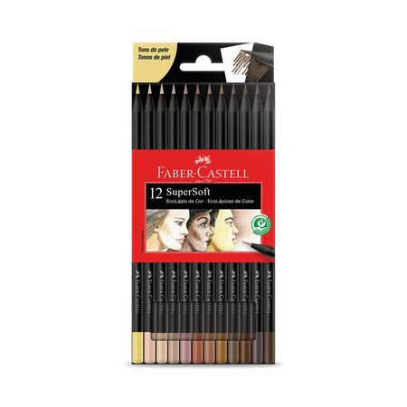 Lápis de Cor 12 Cores Tons de Pele SuperSoft Faber-Castell