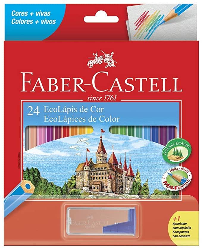 Lápis de Cor 24 Cores Faber-Castell Com Apontador