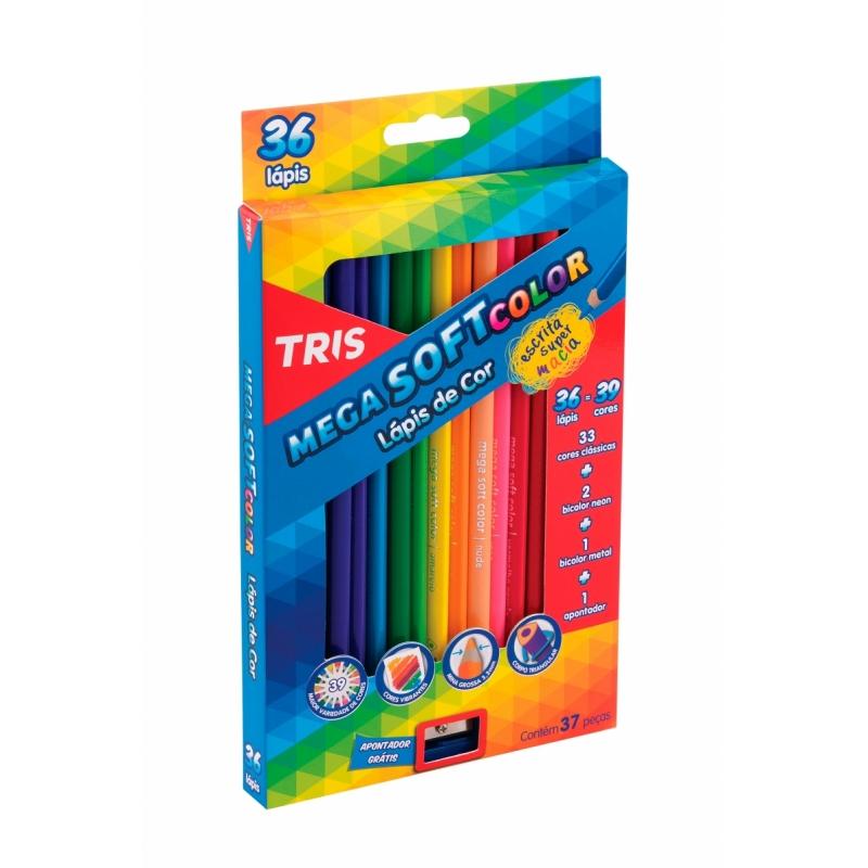 Lápis de Cor 36 Cores Mega Soft Tris