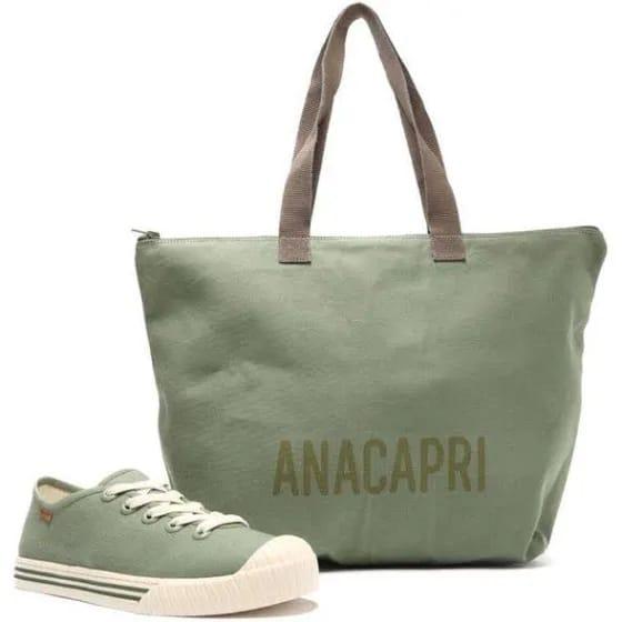 Kit Tênis Verde Alice e Bolsa Lona