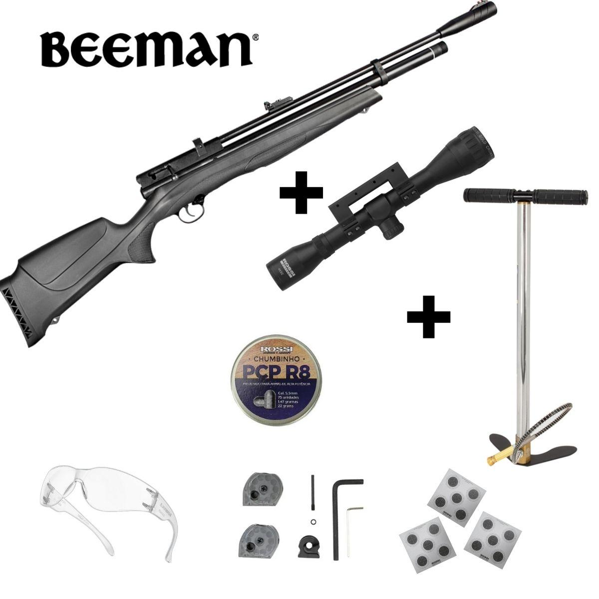 Carabina Pressão Rossi Beeman Pcp 1336 5.5 Kit Luneta Bomba