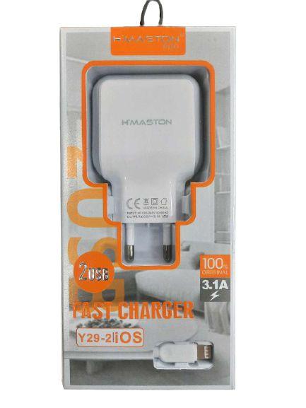 Carregador USB Lightning 2  3.1A para Iphone Y29-2 H´MASTON