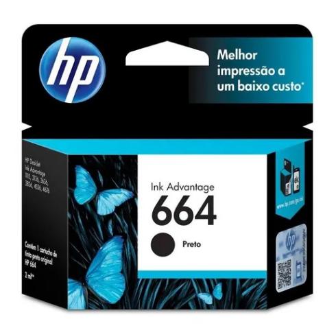 CARTUCHO DE TINTA ORIGINAL HP 664 PRETO 2ML F6V29AB